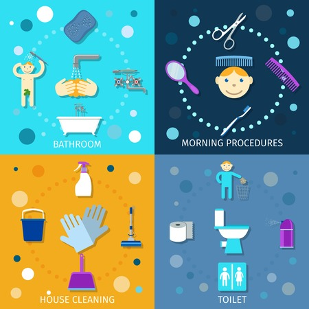 toilet brush: Hygiene icons flat set with bathroom morning procedures house cleaning toilet isolated vector illustration