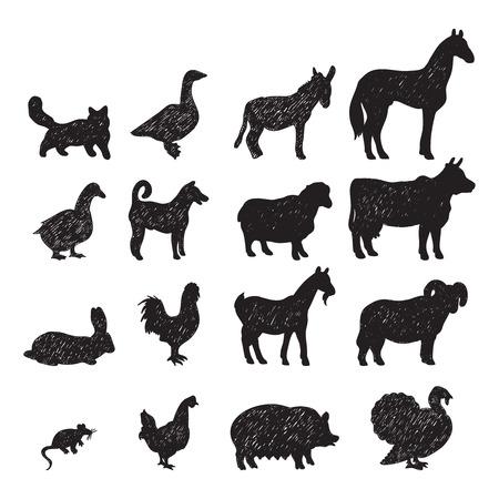 cabras: Animales dom�sticos de granja siluetas negras iconos conjunto con aisladas burro cerdo caballo cabra vaca ilustraci�n vectorial abstracto