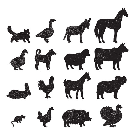 animal ram: Domestic farm animals black silhouettes icons set  with cow goat horse pig donkey isolated abstract vector illustration