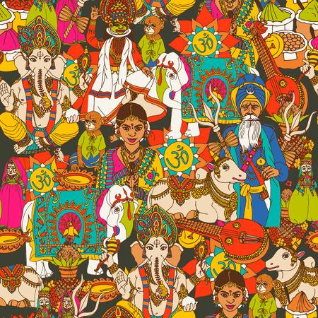 elefante: India animales sagrados culturales m�scaras ropa tradicional e instrumentos de m�sica de dise�o papel de abrigo sin fisuras Resumen ilustraci�n vectorial Vectores