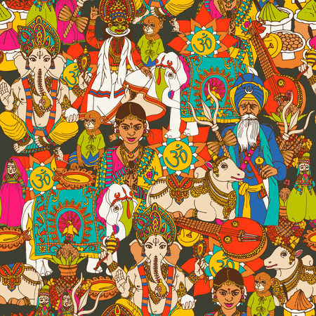 hinduism: Indian cultural holy animals masks  traditional clothes and music instruments  seamless  wrap paper design abstract vector illustration