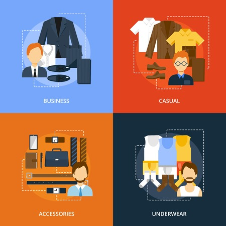 Men clothes icons flat set with business casual accessories and underwear isolated vector illustration