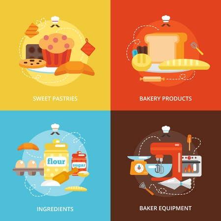 food industry: Bakery flat icons set with sweet pastries products ingredients baker equipment isolated vector illustration Illustration