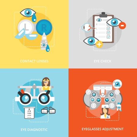 lentes de contacto: Iconos planos Oculistas establecidos con diagn�stico de verificaci�n lentes de contacto lentes de los ojos de ajuste aislado ilustraci�n vectorial