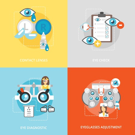eye exam: Oculist flat icons set with contact lenses eye check diagnostics eyeglasses adjustment isolated vector illustration