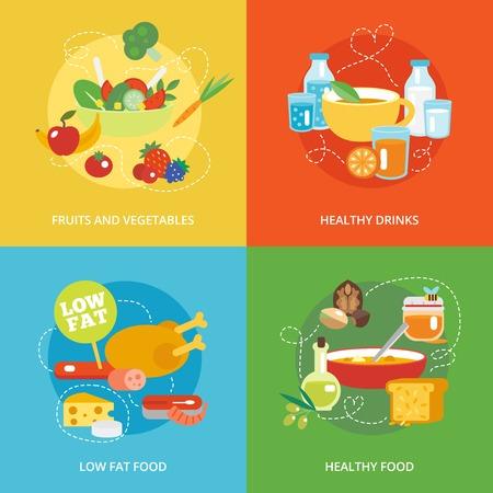 alimentacion sana: Iconos planos de alimentaci�n saludables establecidos con frutas y verduras bebidas bajos en grasa y alimentos aislados ilustraci�n vectorial Vectores