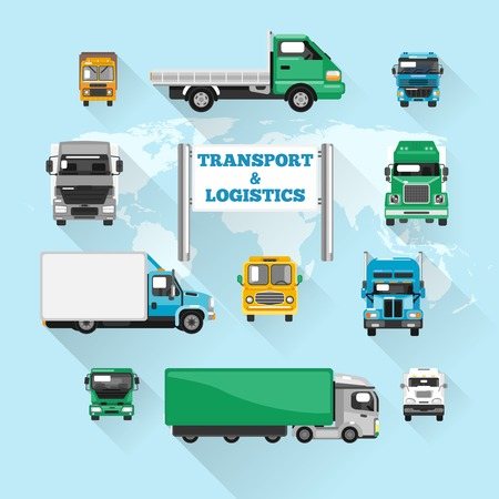 hauler: Trucks transport and logistics delivery icons flat with world map vector illustration