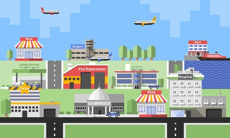shops street: Government buildings with police station bank school and skyline background vector illustration