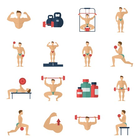 builder symbol: Bodybuilding fitness gym flat icons set with male athlete figures isolated vector illustration Illustration