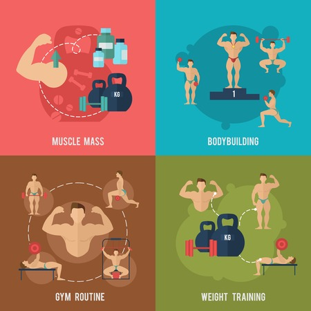 men body: Bodybuilding flat icons set with muscle mass gym routine weight training isolated vector illustration