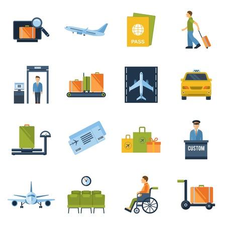 Luchthaven iconen platte set met bagagecontrole vliegtuig veiligheidscontrole geïsoleerde vector illustratie