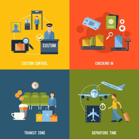 Airport icons flat set with custom control checking in transit zone departure time isolated vector illustration