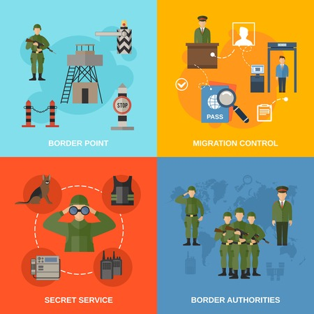 Border guard flat icons set isolated with migration control point secret service authorities isolated vector illustration