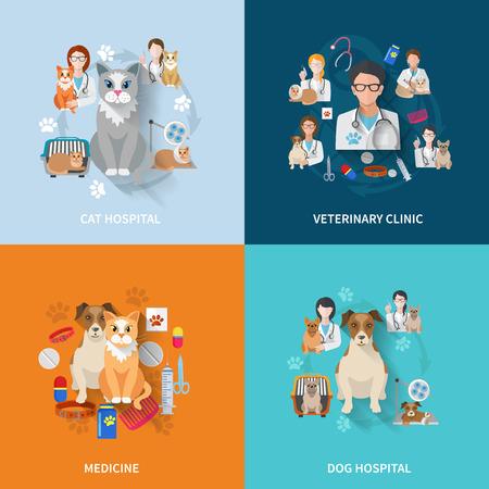 Veterinaire flat set met kat en hond ziekenhuis geneeskunde kliniek geïsoleerde vector illustratie