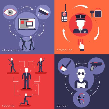 Bewaker vlakke pictogrammen set met bescherming observatie veiligheid gevaar politie geïsoleerd vector illustratie