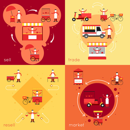 takeout: Street fast food flat icons set with resell sell market trade isolated vector illustration