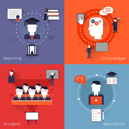 classroom chalkboard: Higher education flat icons set with learning knowledge student isolated vector illustration Illustration