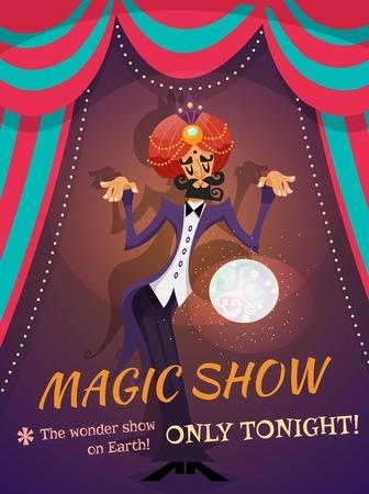 Circus poster met tovenaar bol en goochelshow tekst vector illustratie Stock Illustratie