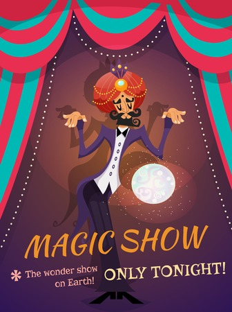 Circus poster with magician sphere and magic show text vector illustration Illustration