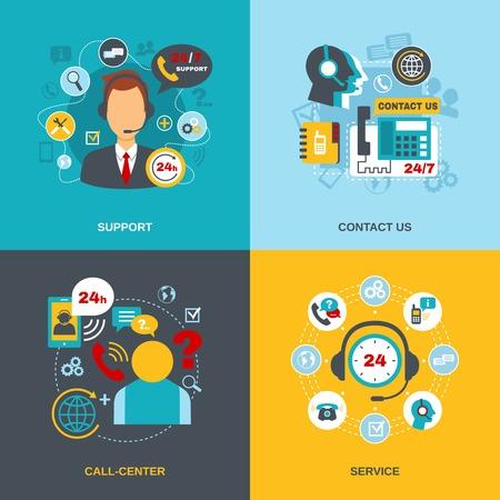 24 h サポート通信コール センター世界お問い合わせ情報サービス フラット アイコン構成抽象的な分離ベクトル図