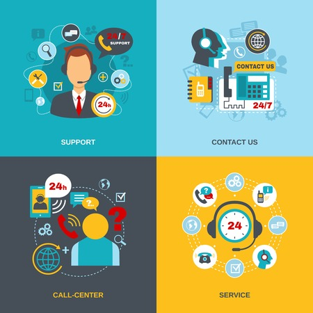 contacts: 24h support telecommunication call center worldwide contact us information service flat icons composition abstract isolated vector illustration
