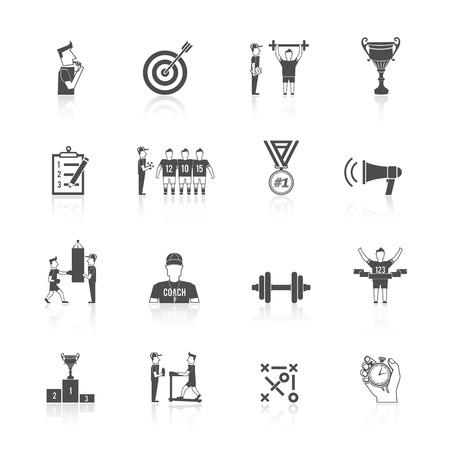 Coaching sport toernooien atleet training zwart pictogram set geïsoleerd vector illustratie