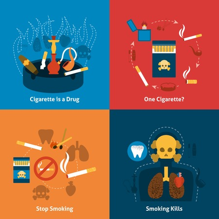 cigar smoke: Smoking design concept with cigarettes grugs flat icons set isolated vector illustration