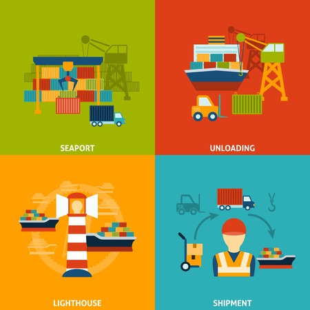 container freight: Seaport design concept set with unloading lighthouse shipment flat icons isolated vector illustration Illustration