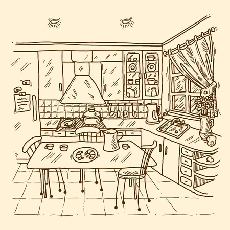 kitchen window: Kitchen interior sketch with indoors home decor room apartment vector illustration Illustration