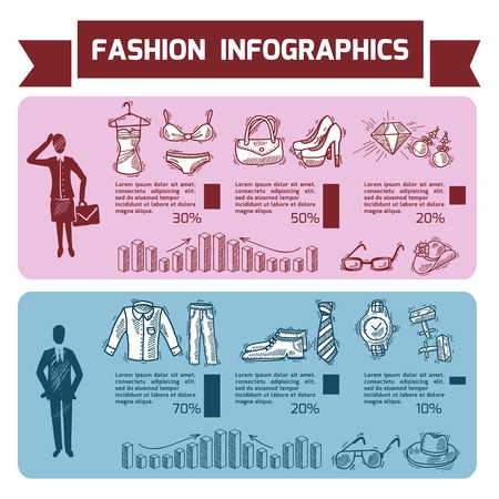 Fashion infographics set with male and female clothes underwear and accessories vector illustration Vector