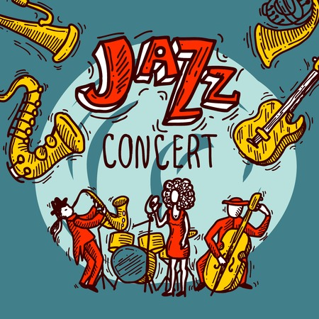 Jazz concert sketch poster with musicians singer and instruments vector illustration