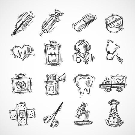 phonendoscope: Medical and healthcare pharmacy and hospital icons sketch set isolated vector illustration Illustration