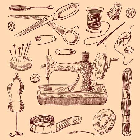 Nähen von Zier Symbole Skizze, mit der Schere Knopf Nadel isoliert Vektor-Illustration gesetzt Standard-Bild - 35434217