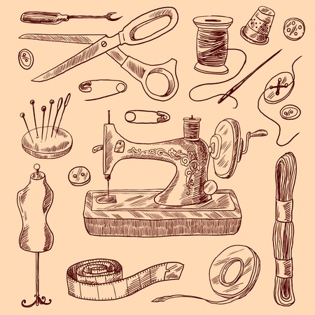 Sewing decorative icons sketch set with scissors button needle isolated vector illustration