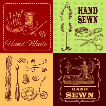 needle cushion: Sewing design concept with tailor equipment sketch icons set isolated vector illustration