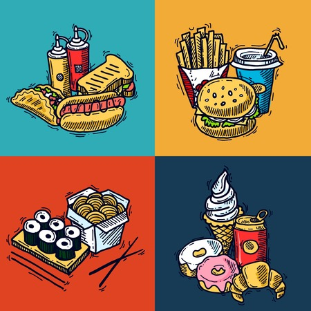 hotdog sandwiches: Fast food design concept set with sandwich croissant hotdog sketch icons isolated vector illustration