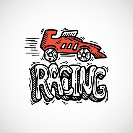 bolide: Racing car auto sport decorative icon sketch vector illustration