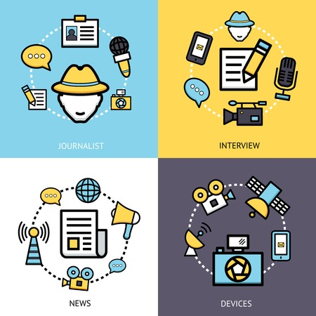 news van: News reporter design concept set with journalist interview devices flat icons isolated vector illustration Illustration