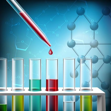 drug test: Science research with pipette and analysis tubes closeup realistic background vector illustration Illustration
