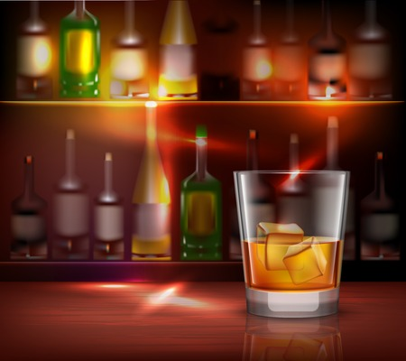 bar counter: Bar counter realistic background with glass of whiskey in front vector illustration