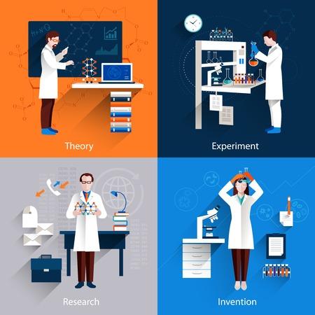 scientists: Concepto de diseño de la ciencia establece con iconos de invención de investigación experimento teoría de conjuntos aislados ilustración vectorial Vectores