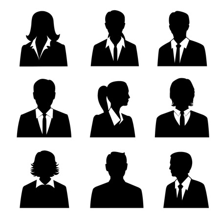 novios silueta: Avatares comerciales establecidos con machos y hembras siluetas empresarios aislados ilustración vectorial Vectores