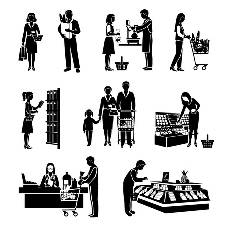 grocery shelves: People in supermarket men and women consumers black icons set isolated vector illustration Illustration