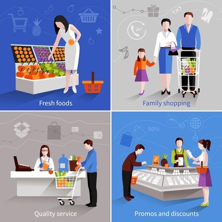 La gente en el supermercado concepto de diseño establecidos con promos de servicios de calidad comercial de frutas frescas familia y descuentos iconos planos ilustración vectorial aislado