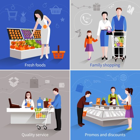 grocery shelves: People in supermarket design concept set with fresh fruits family shopping quality service promos and discounts flat icons isolated vector illustration Illustration