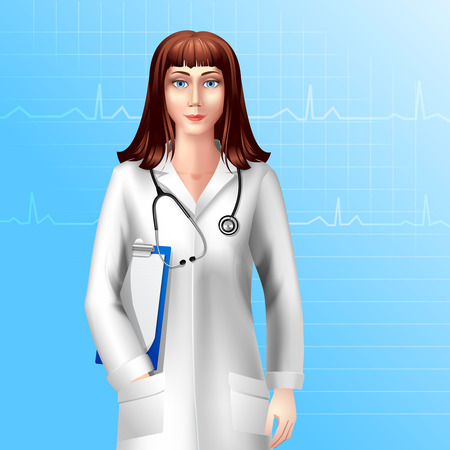 Young pretty female doctor character in uniform with stethoscope vector illustration