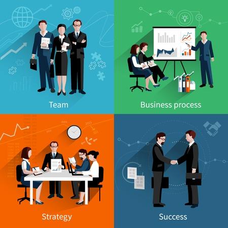 estrategia: El trabajo en equipo concepto de dise�o establece con la estrategia de procesos de negocios en equipo y el �xito iconos planos establecer ilustraci�n vectorial Vectores