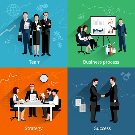 team business: Teamwork design concept set with team business process strategy and success flat icons set vector illustration