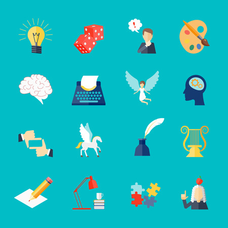 muse: Muse and art inspiration icon flat set with pegasus lightbulb dice isolated vector illustration