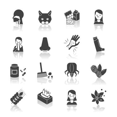 allerg�nes: Allergie, ic�ne, ensemble noir avec des allerg�nes m�decine et de traitement symboles isol� illustration vectorielle